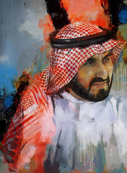 Bin Wall Art - Painting - Portrait Of Sheikh Saqr Bin Mohammad Al Qasimi by Maryam Mughal