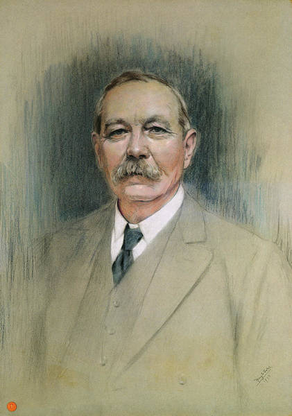 Mustache Painting - Portrait Of Sir Arthur Conan Doyle  by William Henry Gates