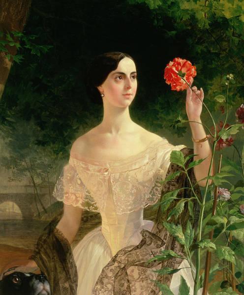 Elegant Dog Painting - Portrait Of Sofia Andreyevna Shuvalova by Karl Pavlovich Bryullov