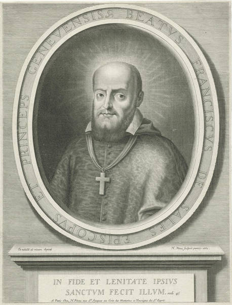 Wall Art - Drawing - Portrait Of St. Francis De Sales, A Halo Behind His Head by Nicolas Pitau (i)
