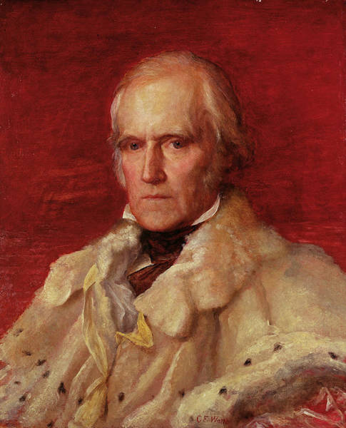 Ermine Wall Art - Photograph - Portrait Of Stratford Canning 1786-1880, Viscount Stratford De Redcliffe 1856-7 Oil On Canvas by George Frederick Watts