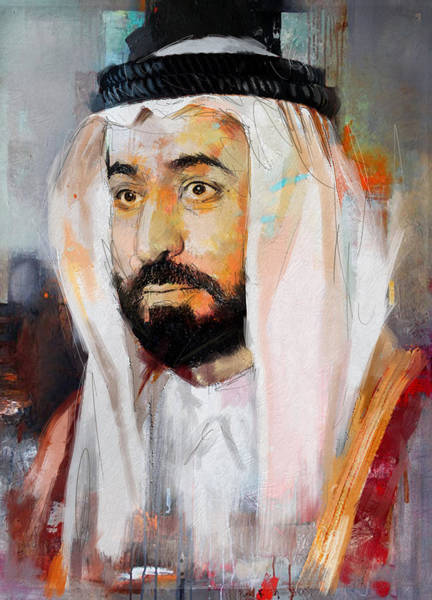 Bin Wall Art - Painting - Portrait Of Sultan Bin Mohammad Al Qasimi by Maryam Mughal
