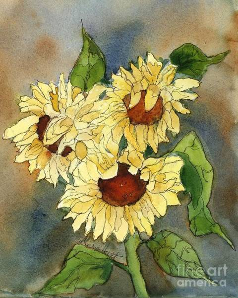 Pen Painting - Portrait Of Sunflowers by Maria Hunt
