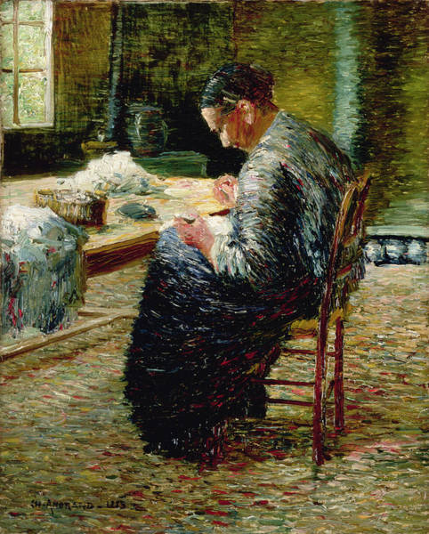 Impressionist Photograph - Portrait Of The Artists Mother Sewing, 1885 by Charles Angrand