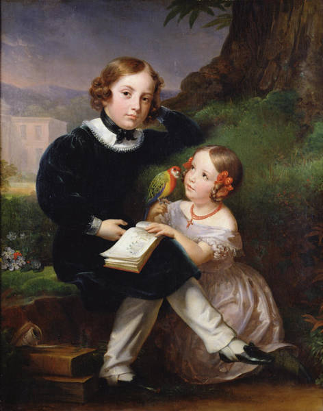 Parakeets Photograph - Portrait Of The Children Of Pierre-jean David Dangers Oil On Canvas by Marie Eleonore Godefroid