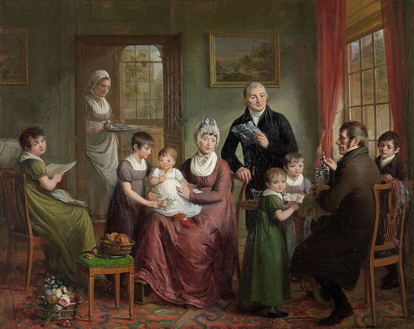 Wall Art - Drawing - Portrait Of The Family Of Adriaan Bonebakker With Dirk L by Litz Collection