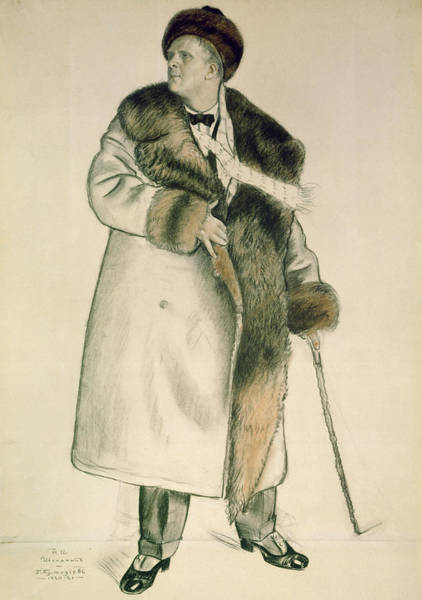 Male Figure Drawing - Portrait Of The Opera Singer Feodor Ivanovich Chaliapin by Boris Mihajlovic Kustodiev