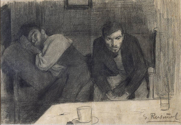 Chestnut Hair Drawing - Portrait Of The Sculptor Carles Mani And The Painter Pere Ferran by Santiago Rusinol