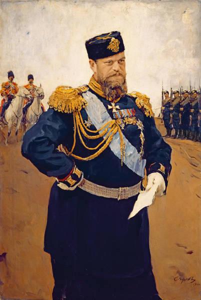 Epaulette Photograph - Portrait Of Tsar Alexander IIi, 1900 Oil On Canvas by Valentin Aleksandrovich Serov