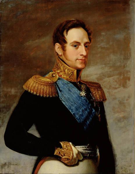 Russian Blue Painting - Portrait Of Tsar Nicholas I by Vasili Andreevich Tropinin