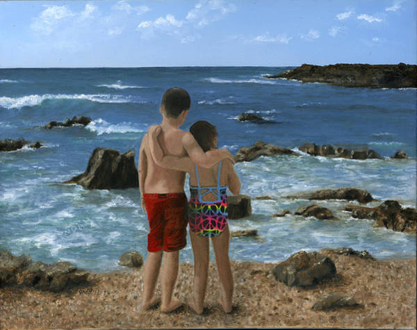 Wall Art - Painting - Portrait Of Two Children At Beach by Cecilia Brendel