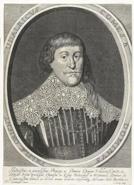 Mens Clothing Wall Art - Drawing - Portrait Of Udalricus Of East Friesland, Cornelis Koning by Cornelis Koning And Adriaan Justus Bierman