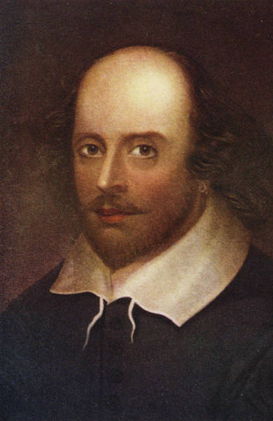 Elizabethan Wall Art - Photograph - Portrait Of William Shakespeare 1564-1616 Colour Litho by English School