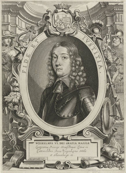 Allegorical Figure Drawing - Portrait Of William Vi, Landgrave Of Hesse-kassel, In An by Theodor Matham