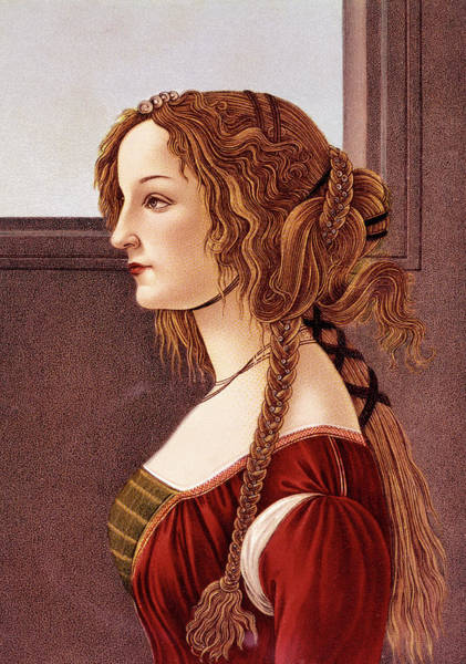 Braid Painting - Portrait Of Young Woman By Botticelli by Vintage Images