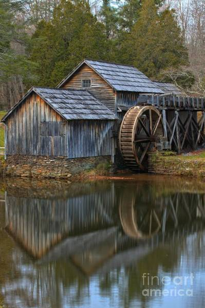 Photograph - Portrait Reflections Of The Mabry Mill by Adam Jewell