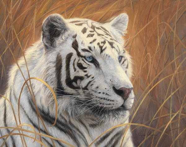 Grass Painting - Portrait White Tiger 2 by Lucie Bilodeau
