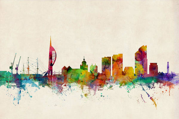 Portsmouth Wall Art - Digital Art - Portsmouth England Skyline by Michael Tompsett