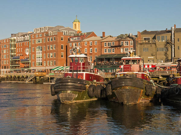 Photograph - Portsmouth Harbor With Tugboats by Nancy De Flon