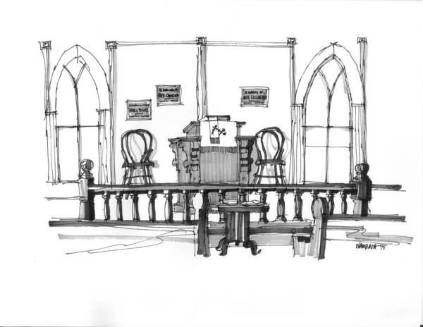 Drawing - Portsmouth Island Chapel 1970s by Richard Wambach