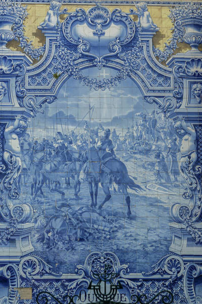 Glazed Tiles Photograph - Portugal, Lisbon, Azulejo, Painted Blue by Jim Engelbrecht