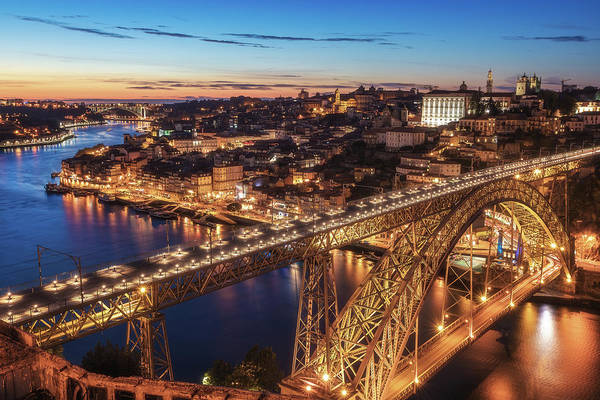 Iron Photograph - Portugal - Porto Blue Hour by Jean Claude Castor