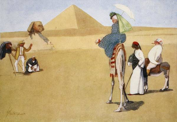 Wall Art - Drawing - Posing At The Pyramids, From The Light by Lance Thackeray