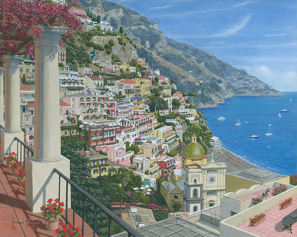 Bougainvillea Wall Art - Painting - Positano Vista Amalfi Coast Italy by Richard Harpum
