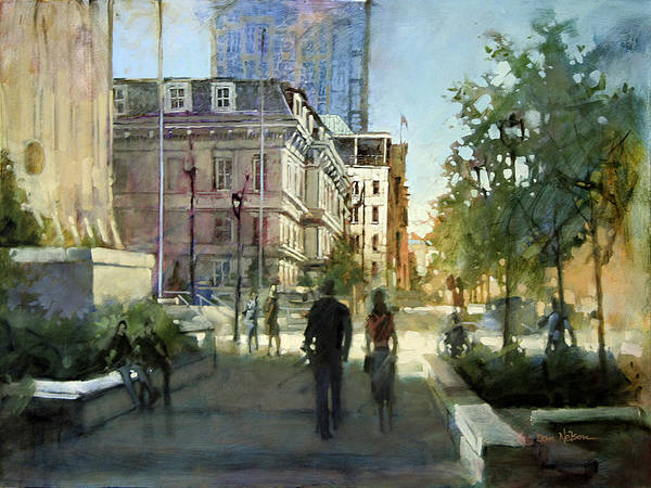 Street Scape Painting - Post Office Stroll by Dan Nelson