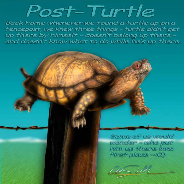 Fence Post Digital Art - Post Turtle by Chas Sinklier
