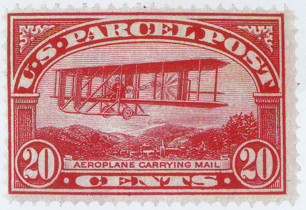 Stamp Collecting Photograph - Postal Biplane, U.s. Parcel Post Stamp by Science Source