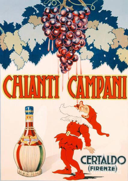 Bar Wall Art - Drawing - Poster Advertising Chianti Campani by Necchi