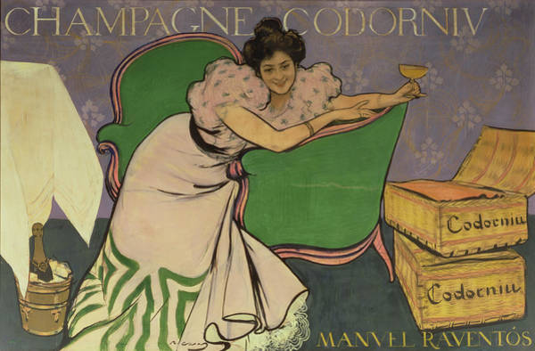 Nineteenth Century Photograph - Poster Advertising Codorniu Champagne  by Ramon Casas i Carbo