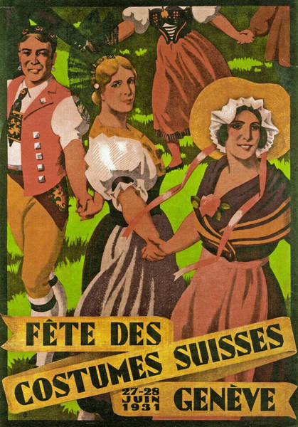 Advertising Drawing - Poster Advertising F?te Des Costumes by Jules Courvoisier