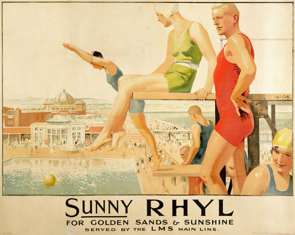 North Wales Wall Art - Painting - Poster Advertising Sunny Rhyl  by Septimus Edwin Scott
