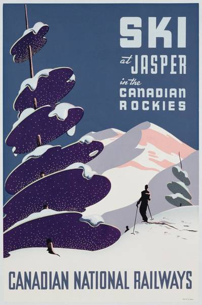 Canadian Rockies Wall Art - Painting - Poster Advertising The Canadian Ski Resort Jasper by Canadian School