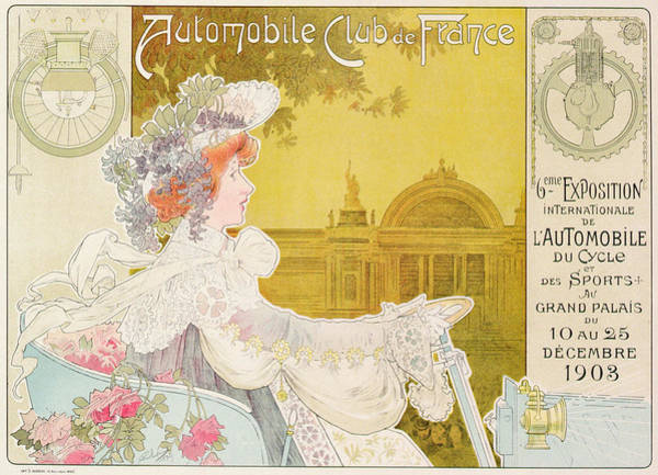Old Style Drawing - Poster Advertising The Sixth Exhibition Of The Automobile Club De France by J Barreau