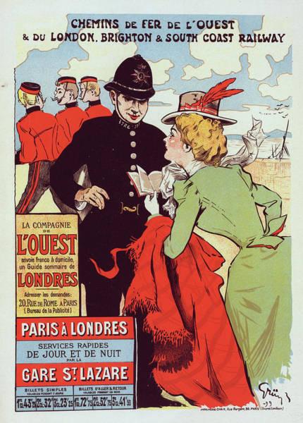 Gare Painting - Poster For La Cie De Louest, Paris-londres by Liszt Collection