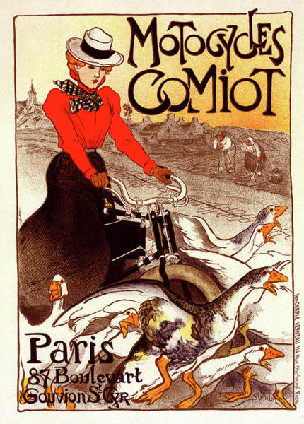 Wall Art - Painting - Poster For Motocycles Comiot. Théophile Alexandre Steinlen by Liszt Collection