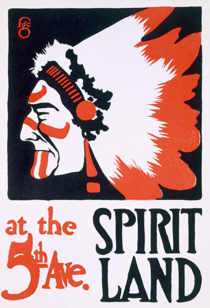 Native Headdress Painting - Poster For Spirit Land by Frederic G Cooper