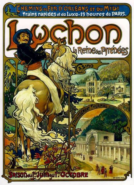 Print Drawing - Poster For Trains To Luchon by Alphonse Marie Mucha