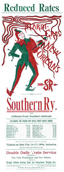 Alabama Painting - Poster Mardi Gras, 1896 by Granger