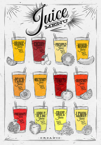 Freshness Wall Art - Digital Art - Poster Menu With Glasses Of Different by Anna42f