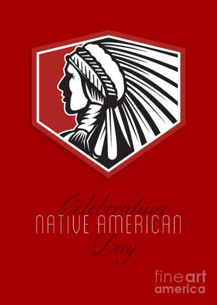 Indian Brave Digital Art - Poster Native American Day Celebration Retro Card by Aloysius Patrimonio