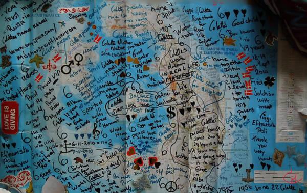 Photograph - Poster Oceon Bottle Letter Santorini Island Greece by Colette V Hera  Guggenheim