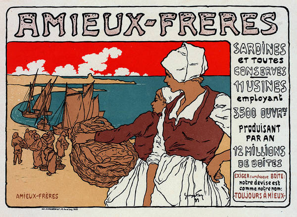 Wall Art - Drawing - Poster Sardines, 1899 by Granger