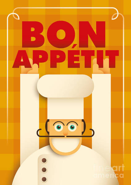 Wall Art - Digital Art - Poster With A Comic Chef. Vector by Radoman Durkovic