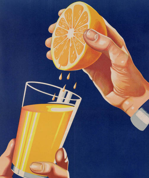 Fruit Drawing - Poster With A Glass Of Orange Juice by Israeli School
