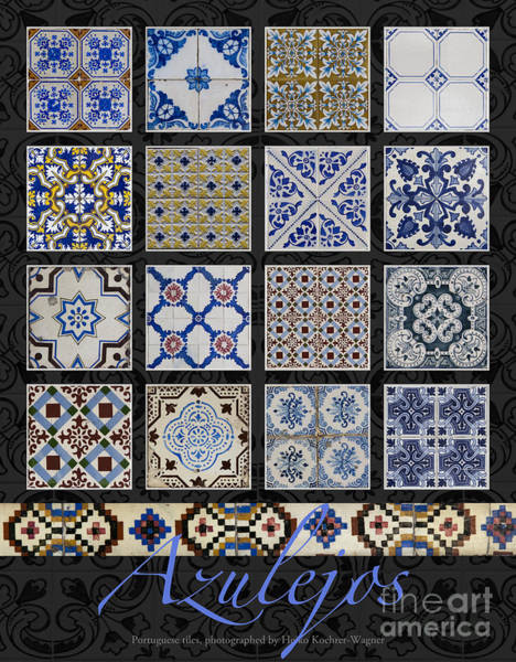 Photograph - Poster With Colored Portuguese Tile-works  by Heiko Koehrer-Wagner