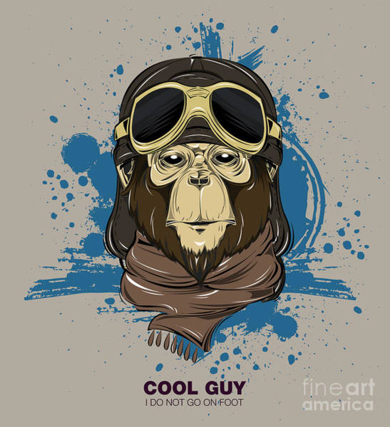 Biker Wall Art - Digital Art - Poster With Portrait Of Monkey Wearing by Now Design